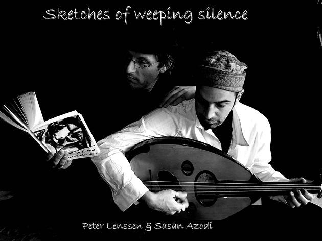 Peter Lenssen en Sasan Azodi bij de uitvoering van Sketches of weeping silence (Canto Generalísimo).